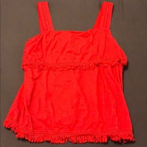 Red j crew tank with fringe details